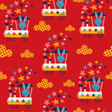 Bunny train kids seamless pattern Royalty Free Stock Photo