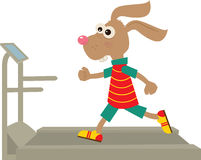 Bunny on a Treadmill. Cute bunny is running on a treadmill. Eps10 Royalty Free Stock Image