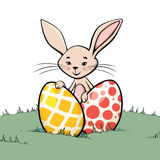 Bunny with two easter eggs Royalty Free Stock Photography