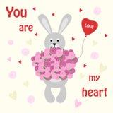 Bunny Valentine Rabbit avec un bouquet des fleurs et d'un ballon illustration de vecteur