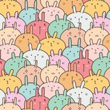 Bunny Vector Pattern Background mignon Griffonnage drôle Photo stock