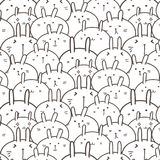 Bunny Vector Pattern Background mignon Griffonnage drôle Photos stock