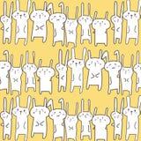 Bunny Vector Pattern Background mignon Griffonnage drôle Photo libre de droits