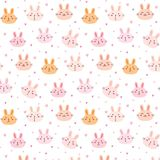 Bunny Vector Pattern Background mignon Griffonnage drôle Image stock