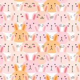 Bunny Vector Pattern Background mignon Griffonnage drôle Photos stock