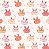 Bunny Vector Pattern Background mignon Griffonnage drôle illustration libre de droits