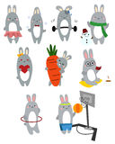Bunny Vector Set Royalty Free Stock Photography