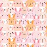 Bunny Vetora Pattern Background bonito Doodle engraçado ilustração do vetor
