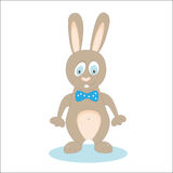 Standing rabbit cartoon on white. wearing a bow. vector vector illustration