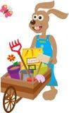 Bunny With Wheelbarrow. Cute bunny carry a wheelbarrow with garden supplies. Eps10 vector illustration