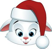 Bunny on white background. Isolated vector rabbit on a white background in a santa hat Stock Images