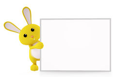 Bunny with white board presentation. 3d bunny with white board Stock Photos