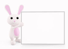 Bunny with white board presentation Stock Photos