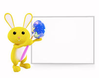 Bunny with white board presentation. 3d bunny with white board Royalty Free Illustration