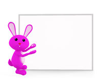 Bunny with white board presentation. 3d bunny with white board Royalty Free Stock Photography