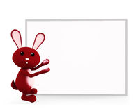Bunny with white board presentation. 3d bunny with white board Royalty Free Stock Image