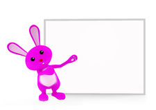 Bunny with white board presentation. 3d bunny with white board Stock Illustration