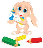 Bunny With Pencils Stock Photo