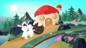 Bunny in wonderland, rabbit pushing egg to mushroom house, fantasy tale story, animals wildlife in nature poster background, stock illustration