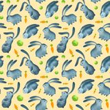Bunnys senza cuciture del modello dell'acquerello royalty illustrazione gratis