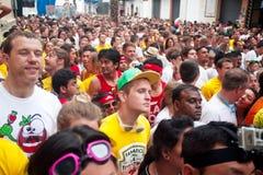 Bunol Hiszpania, Sierpień, - 28: Tłum oczekuje początek półdupki Obrazy Stock
