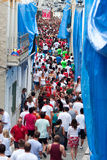 Bunol, Spain - August 28: The crowd awaiting the start of the Ba Stock Image