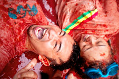 Bunol, Spain - August 28: Young people having fun on Tomatina fe Royalty Free Stock Image