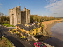 Bunratty Castle and Durty Nelly`s Pub, Ireland - Jan 31st 2017: Aerial view of Ireland`s most famous Castle and Irish Pub. Royalty Free Stock Photo