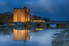 Bunratty castle ireland. Bunratty castle by night, county clare, ireland Stock Image