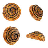 Bunroll with poppy from different angles. Isolation Stock Image