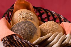 Buns. Some buns on the bread basket royalty free stock photography