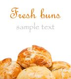 Buns. Fresh buns on white background. With sample text royalty free stock image