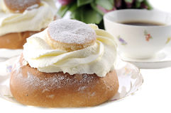 Buns. Pastry called semla and a cup of coffee