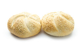 Buns. With sesame seeds isolated on white background royalty free stock image
