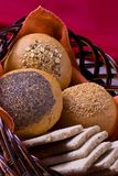 Buns. Some buns on the bread basket royalty free stock photo