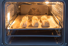 Buns are baked in an oven Royalty Free Stock Images