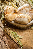 Buns baked with whole wheat flour in basket Stock Images