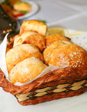 Buns in the basket. On table Royalty Free Stock Photography