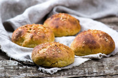 Buns with bran and a linen seed. healthy food. Royalty Free Stock Image