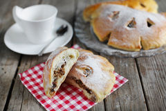 Buns bread filled with walnuts, dessert at teatime snack Royalty Free Stock Photos