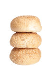Buns for breakfast sprinkled with sesame seeds isolated on white Royalty Free Stock Photography