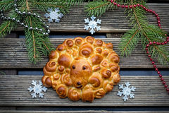 Buns brioche in shape of sheep Royalty Free Stock Photo