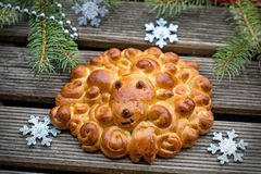 Buns brioche in shape of sheep Royalty Free Stock Image