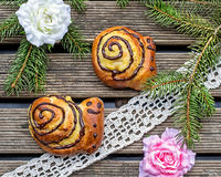 Buns brioche in shape of snail Stock Image