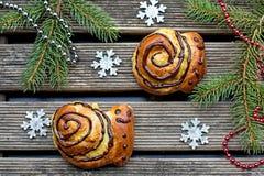 Buns brioche in shape of snail Stock Photo