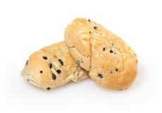 Buns with cheese and olive  on white Royalty Free Stock Image