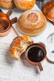 Buns with chocolate, cocoa and coffee. Stock Images