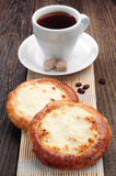 Buns with cottage cheese and coffee Royalty Free Stock Photos