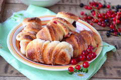 Buns with currants. Selective focus Stock Photos