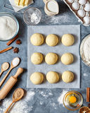 Buns dough traditional homemade preparation recipe, ingridients food flat lay Stock Image